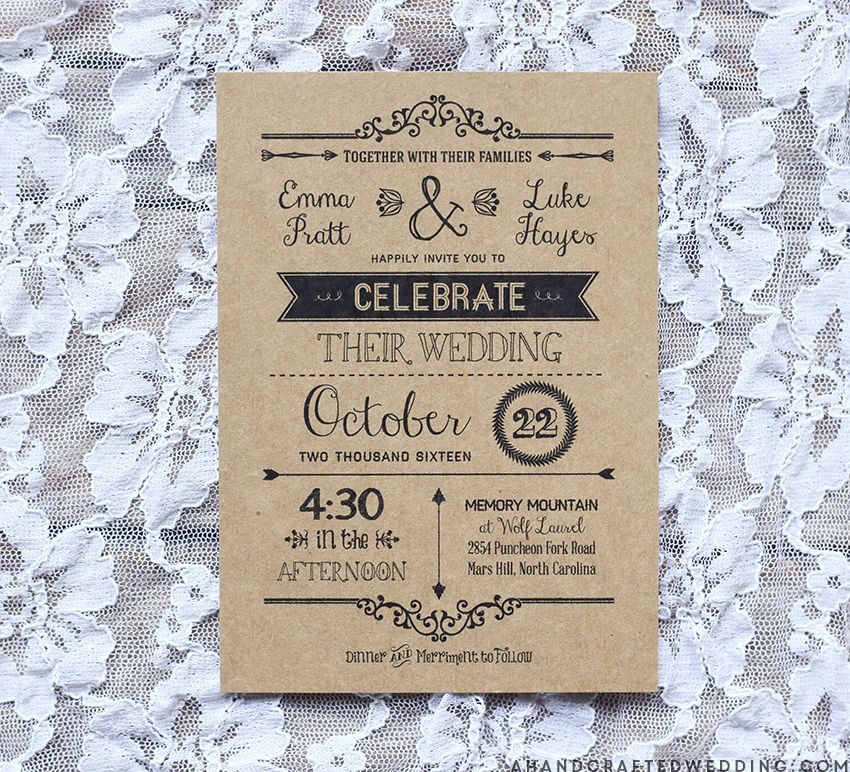 DIY Wedding Invitation Template In Black | Ahandcraftedwedding.com