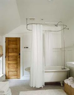 stand alone tube and shower curtain rail | cabin ideas | Pinterest ...