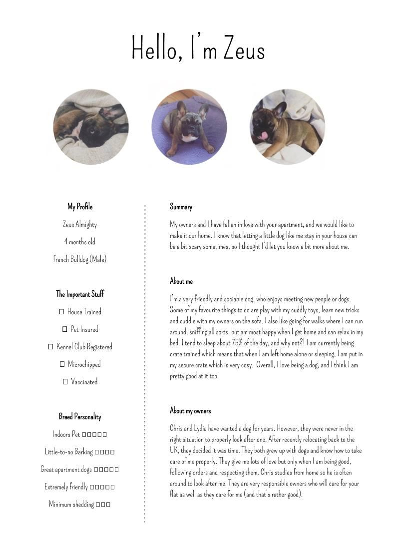 Pet Resume Template For Someone Looking To Rent An Apartment With A Pet A Pet Resume Is A Great Way To Introduce Your Pet To Your La Little Dogs Pets Dog