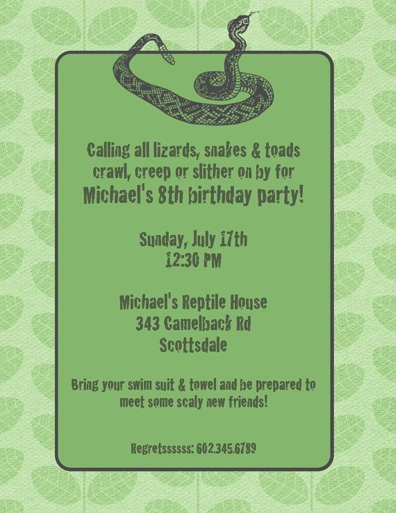 Cute Wording Snake Party Invitation