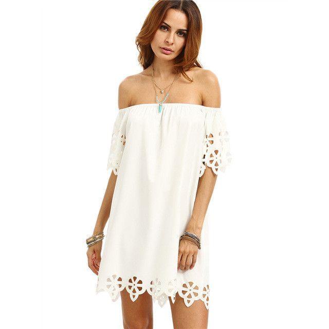 Summer Style Plain Short Sleeve Off The Shoulder Boho Dress