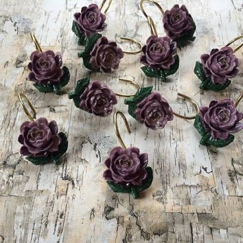 Vintage Purple Rose Shower Curtain Hooks Jewelry Holder Hooks