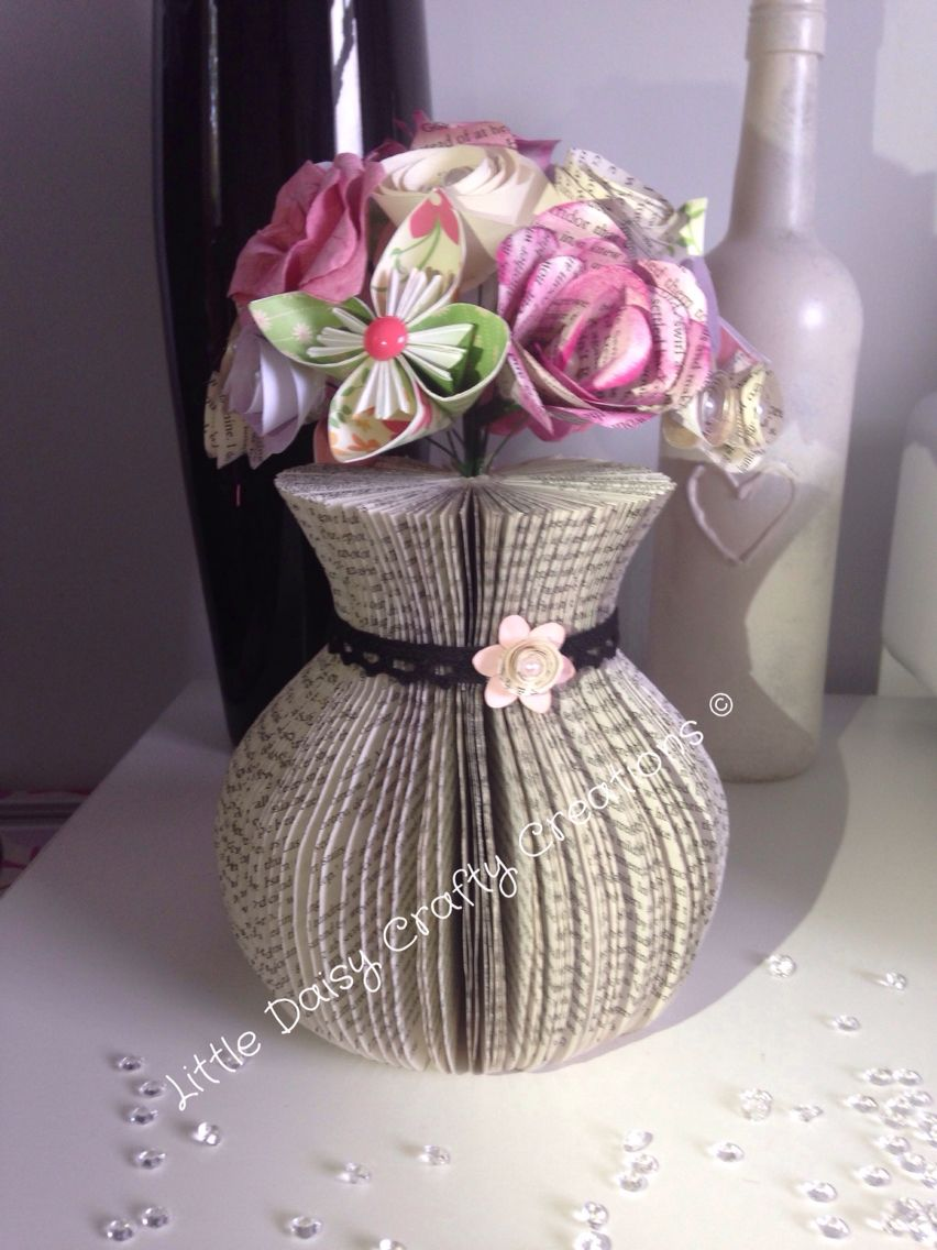 Latest Cut Vase Made Using An Old Book Book Folding Pinterest