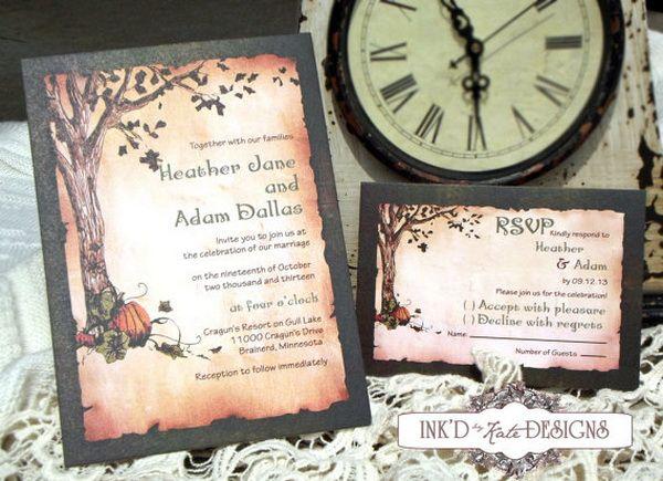 Halloween Inspired Wedding Invitations for Autumn Weddings ...