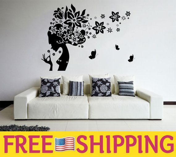Women silhouette wall decal for your house or hair salon hair hair salon wall decoration hair salon wall decal women silhouette wall decal women teraionfo
