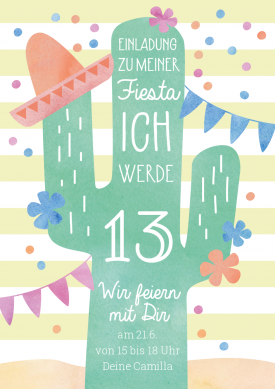 Lustige Einladungskarte Zur Fiesta Zum 13 Geburtstag Mit Kaktus Und Mex Geburtstagseinladungen Einladungskarten Kindergeburtstag Einladungskarten Geburtstag