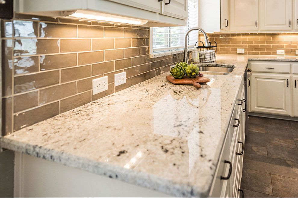 Colonial White Granite Kitchen Countertops With Light Brown Subway Backsplash White Granite Kitchen Granite Countertops Kitchen Brown Granite Countertops