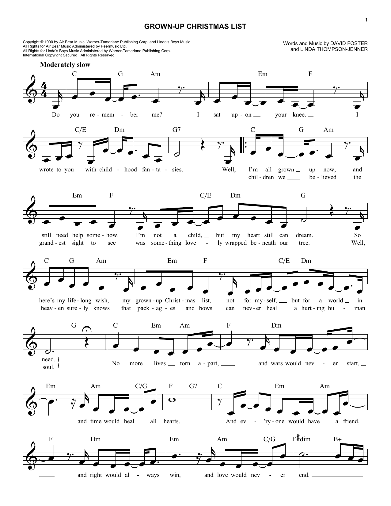 My Grownup Christmas List Lyrics.Amy Grant Grown Up Christmas List Sheet Music Notes
