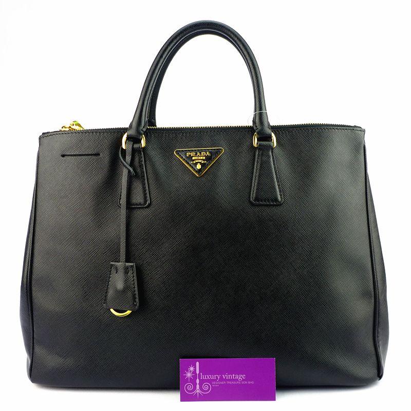 Prada Lux M Black Colour Saffiano Leather Gold Hardware Good Condition Price- RM3xxx Ref.code-(KTLS-1) More Information Pls Email  (- luxuryvintagekl@ gmail.com