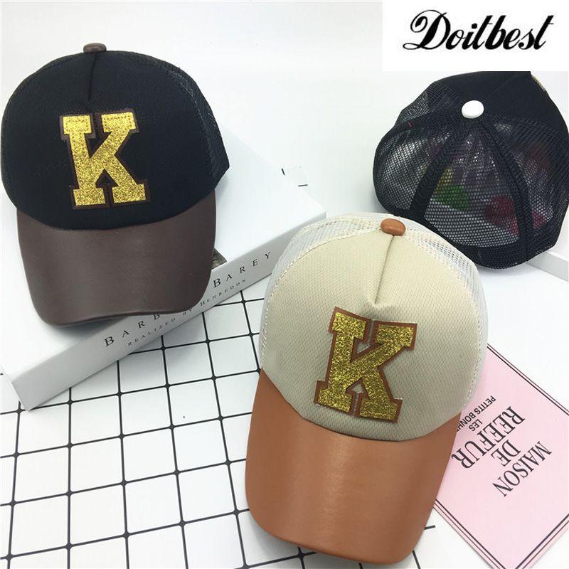 7f0c728f1f70c Click to Buy    2017 Children Hip Hop Baseball Cap Summer K-letter  breathable cap kids Sun Hat Boys Girls mesh snapback Caps hats for 2-9  years  Affiliate