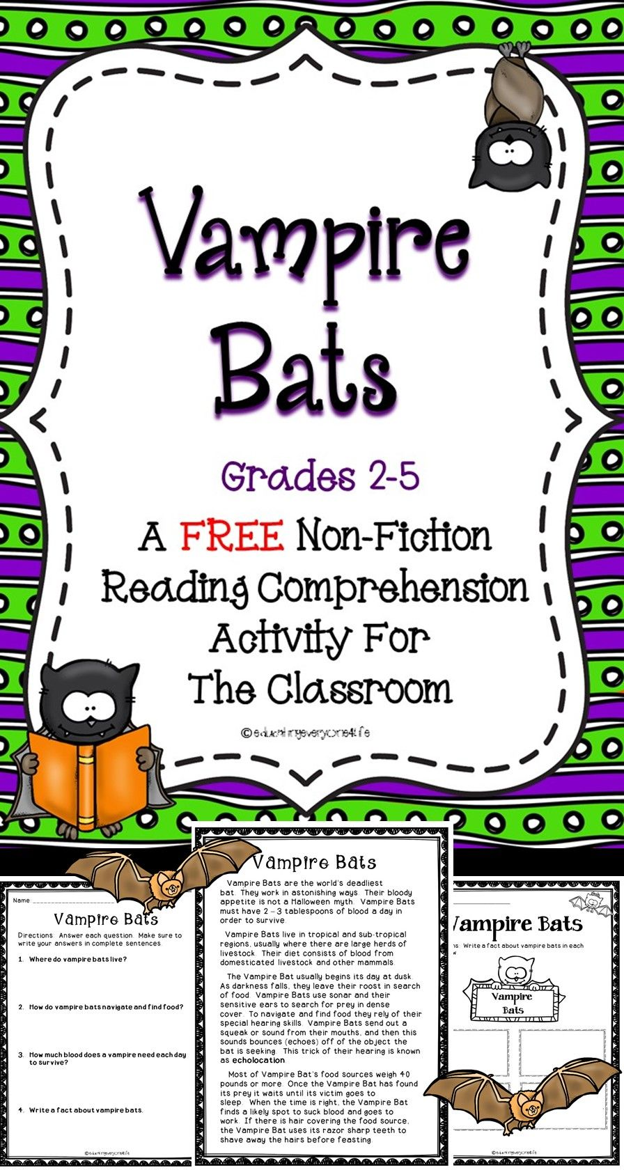 FREE Vampire Bats Reading Comprehension Activity For The Classroom ...