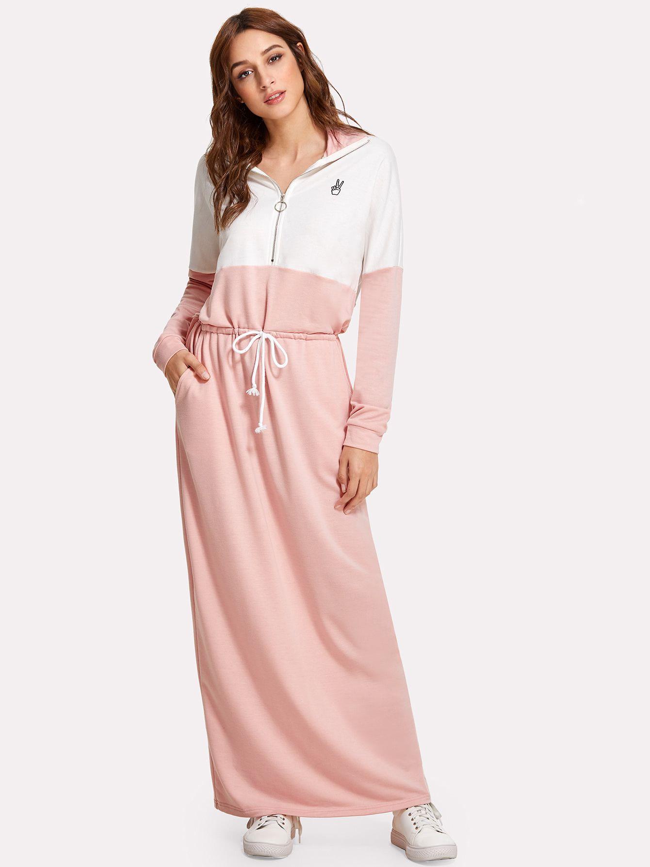 Color block zip up long coat modest workout outfits pinterest