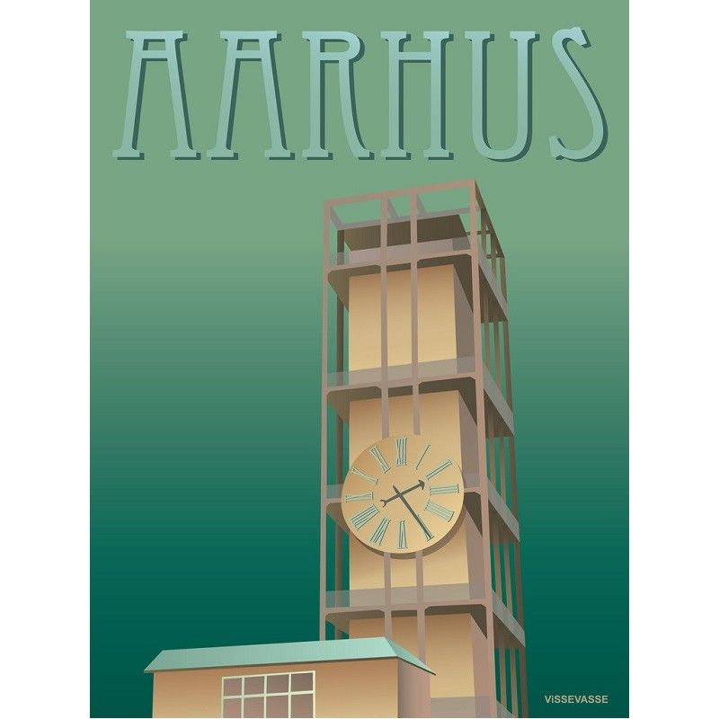 Vissevasse Graphic Poster Depicting The World Famous Aarhus City Hall Clock Was Designed By The Great Designers Arne Jacobse With Images City Prints Aarhus Vintage Posters