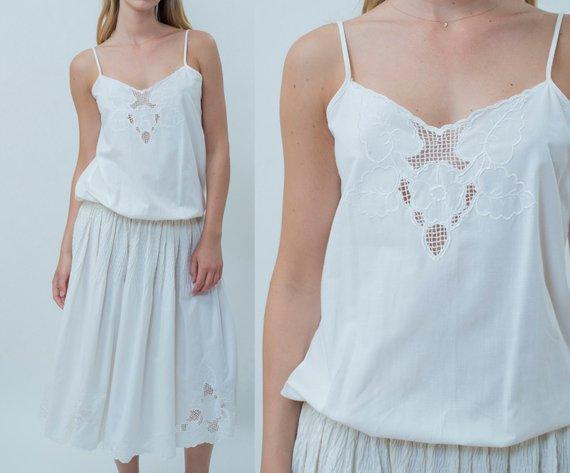 White cotton floral midi dress s white sundress medium