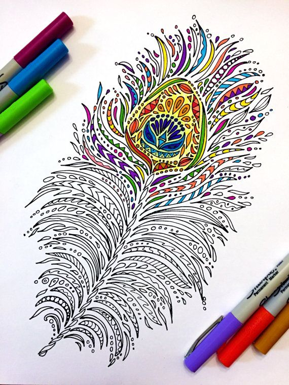 Peacock Feather Pdf Zentangle Coloring Page Coloring Pages