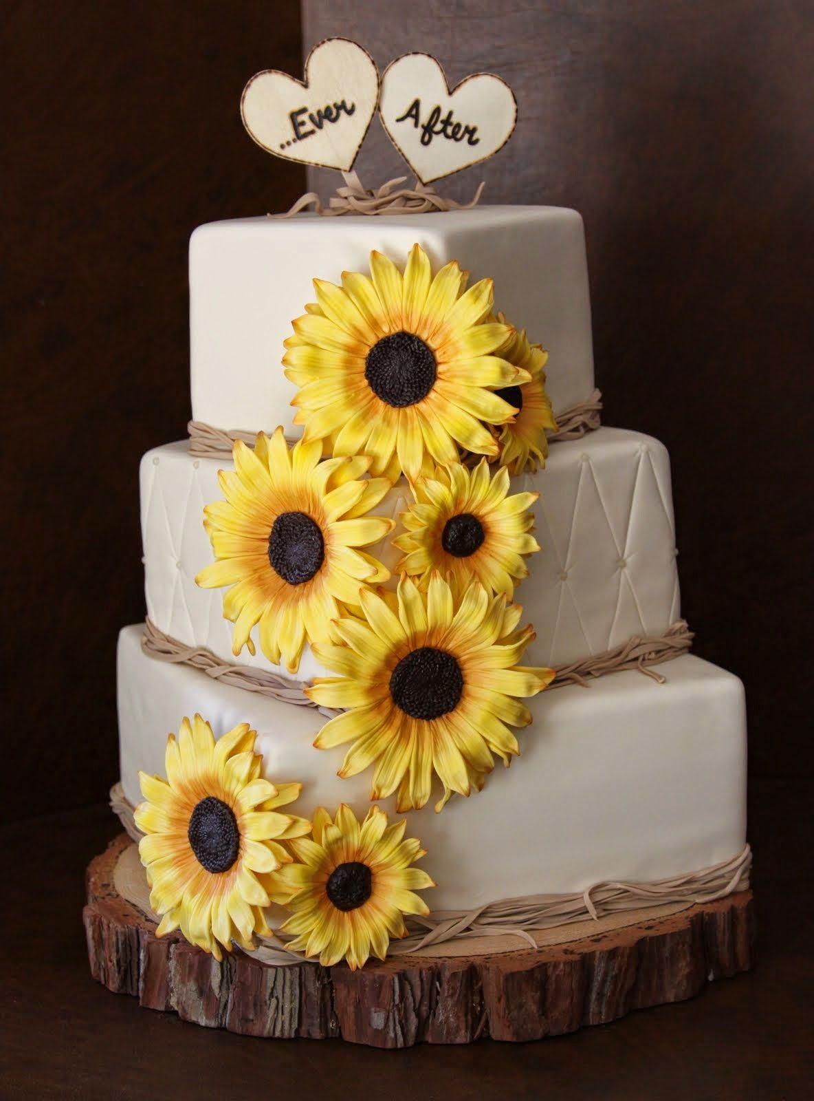 Wedding decorations purple october 2018 Sunflower Wedding Cake  simpleweddingstuffspot