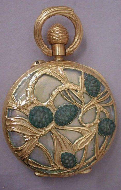 U0027Pine Conesu0027 Gold And Enamel Pocket Watch, By René Lalique (designer) And  Samuel Hall (watchmaker), Circa 1898/1899, France. #ArtNouveau #Lalique  #watch. U0027