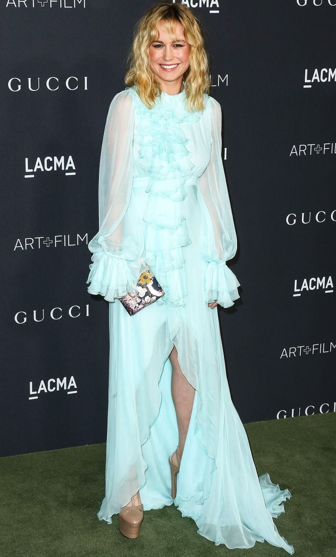 Brie Larson In A Blue Ruffle Gucci Dress