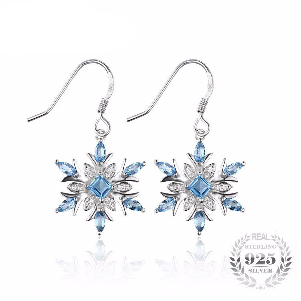 JewelryPalace Snowflake 1.4ct Genuine Swiss Blue Topaz Dangle Earrings 925 Sterling Silver bjJerqM
