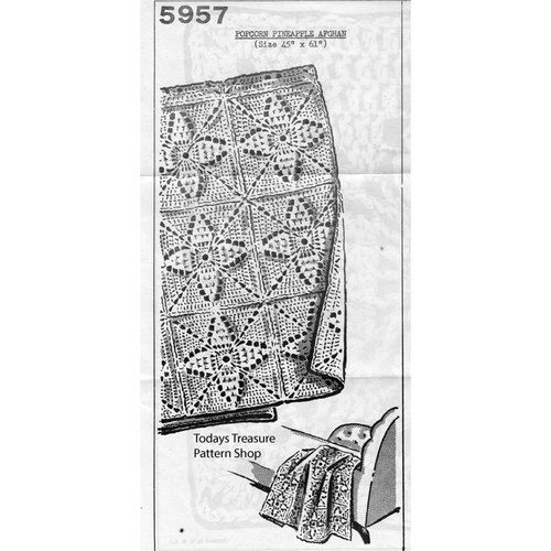 Crocheted Popcorn Pineapple Afghan Pattern 5957 | Mail Order Crochet ...