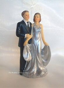Best SILVER WEDDING TH WEDDING ANNIVERSARY CAKE TOPPER COUPLE HOLDING DRESS