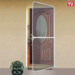 New instant screen door white keeps insects out and for Screen door frame