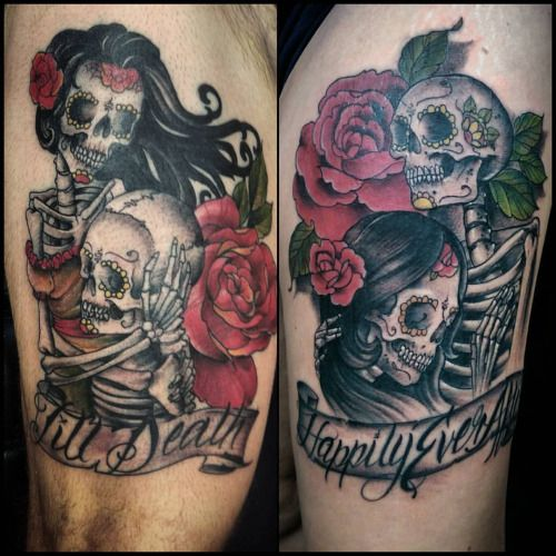 Skeleton couple tattoo google search couple tattoo for King and queen skull tattoos