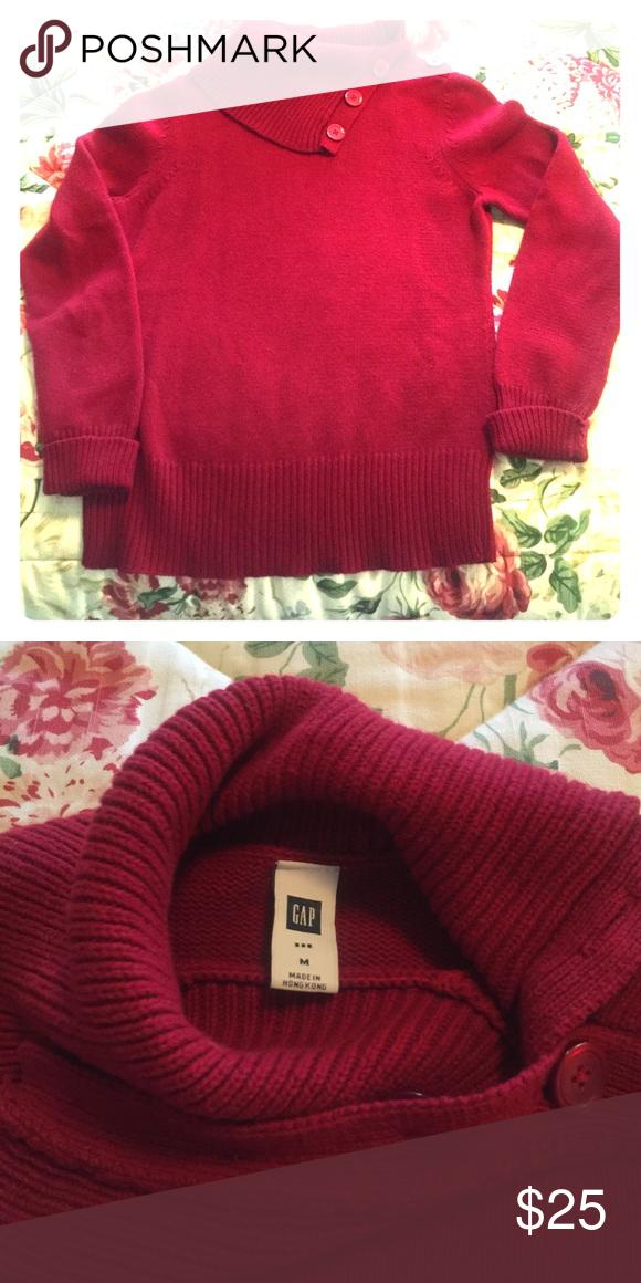 Split cowl neck Gap sweater EUC cotton/wool split cowl neck sweater. Color is more burgundy than red. GAP Sweaters Cowl & Turtlenecks