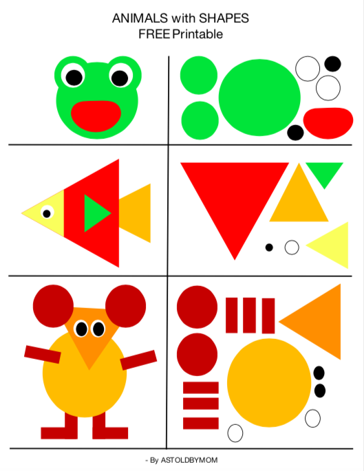 Latest Funny Kids Create Animals with Shapes, Shape Art, Shape Cutouts for preschoolers A free to download printable for engaging toddlers and create cute and funny animals with Shapes. A preschool activity for little kids, A brain teaser for little tykes, A creative way to engage the children. 2