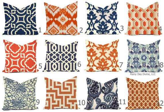 Outdoor Pillow Covers Or Indoor Custom Navy Royal Blue Etsy Outdoor Pillow Covers Outdoor Pillows Designer Throw Pillows Orange and blue outdoor pillows