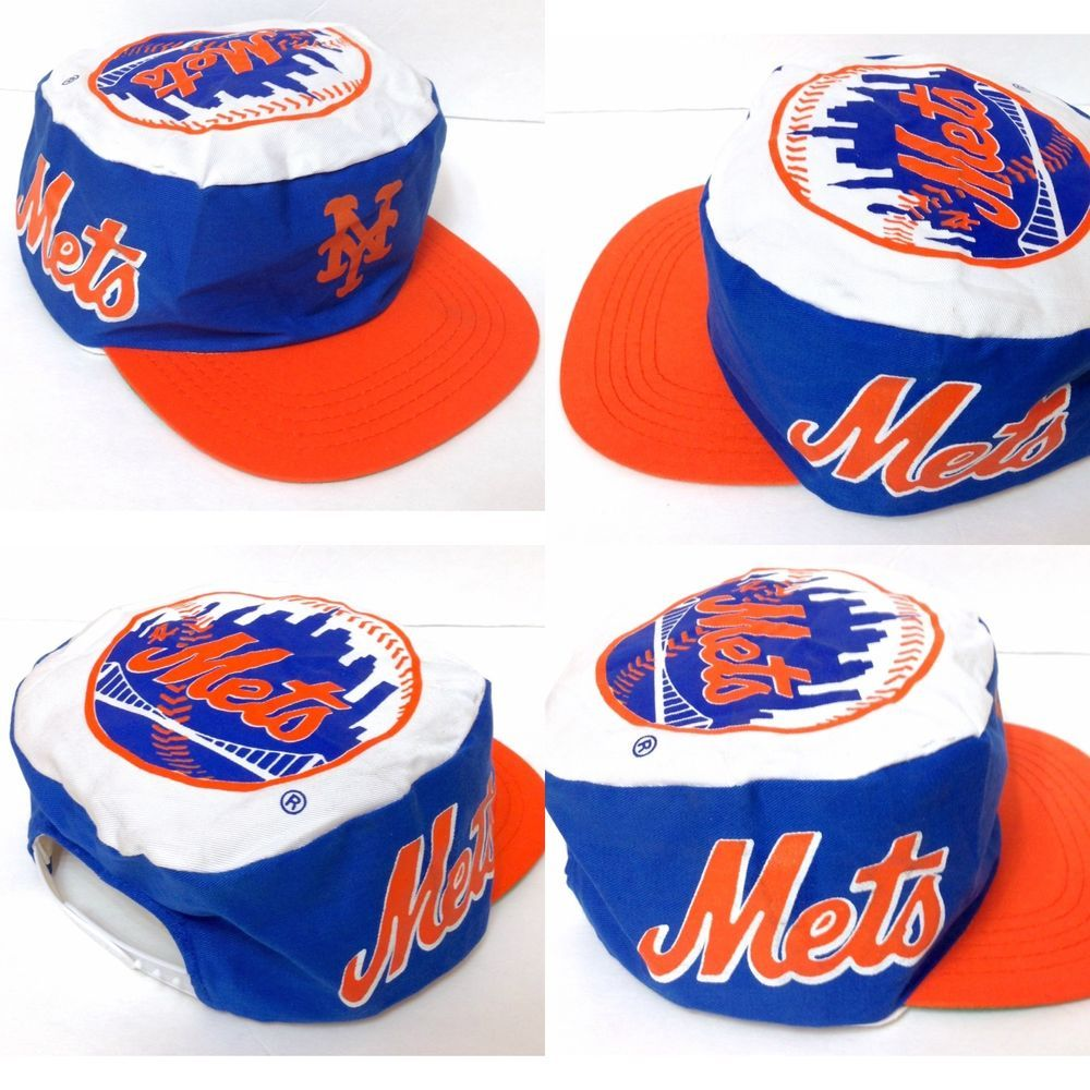 bccac8cb8 rare vtg 80s/90s NEW YORK METS PAINTER HAT White/blue/orange ...