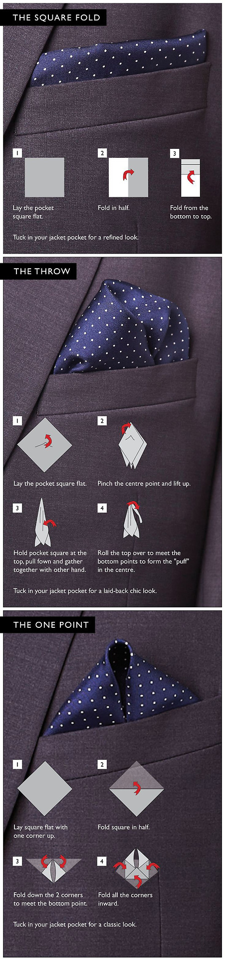Pocket Square tutorial Via | Just Me - My Style | Pinterest | Pocket ...