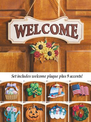 The Inspiration For The Welcome Signs People Made When They Attended The Welcome Sign Craft At The Palatine Library Wooden Welcome Signs Welcome Sign Crafts