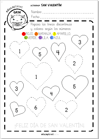 Ficha San Valentin Preescolar Colorea Con Numeros Infantil Gratis