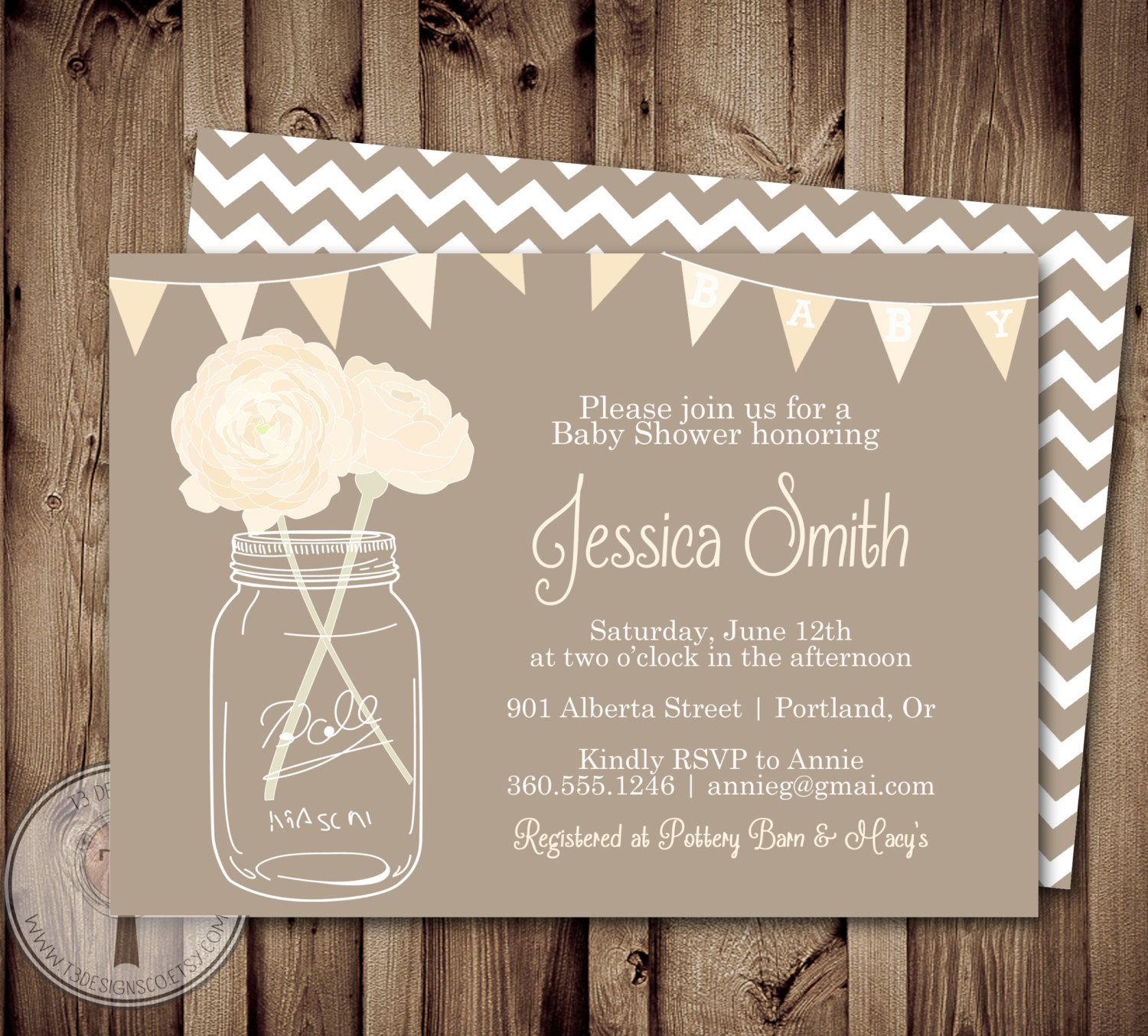 baby shower invitation wording for bringing diapers%0A NEUTRAL Baby Shower Invitation  baby shower invite  mason jar baby shower   mason jar
