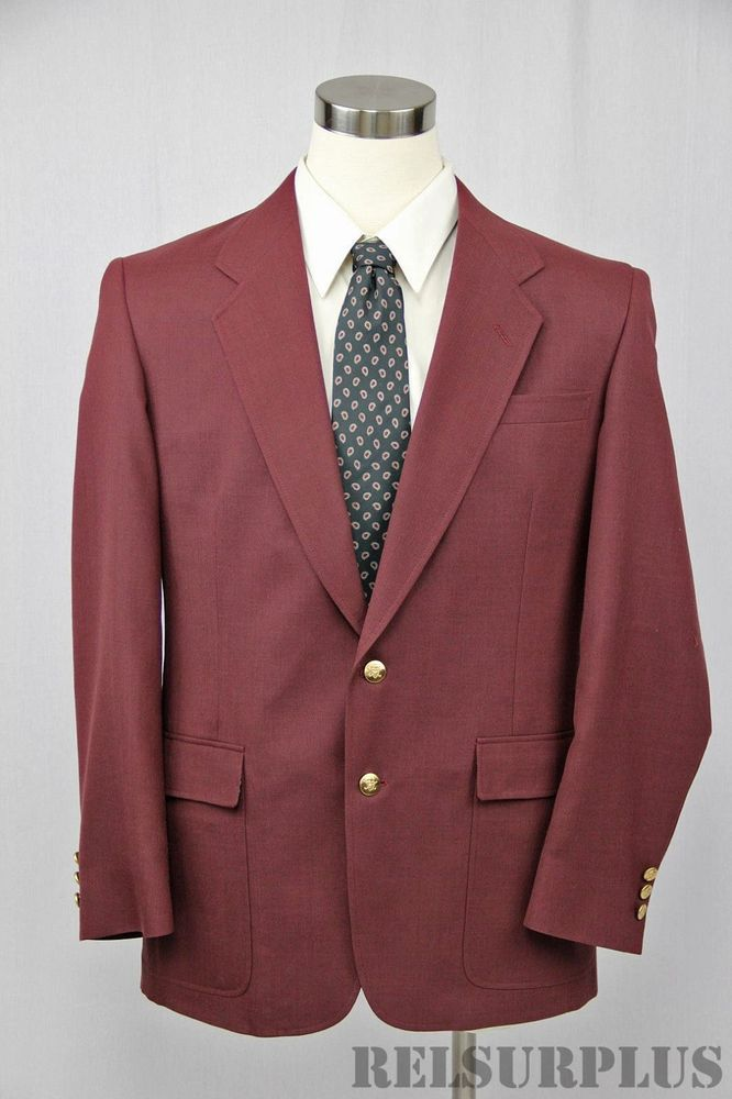 Hart Schaffner & Marx Jack Nicklaus Men's Burgundy Gold Button Golf Blazer 42L #HartSchaffnerMarx #JackNicklaus #Golf #GoldenBear