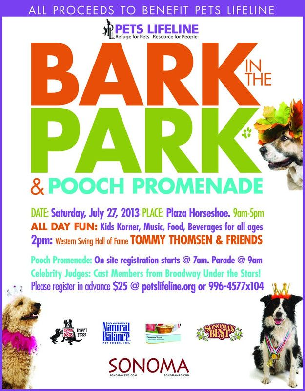 Flyersup Bark In The Park At Plaza Horseshoe Sonoma Ca Dog Parade Dog Contest Sonoma