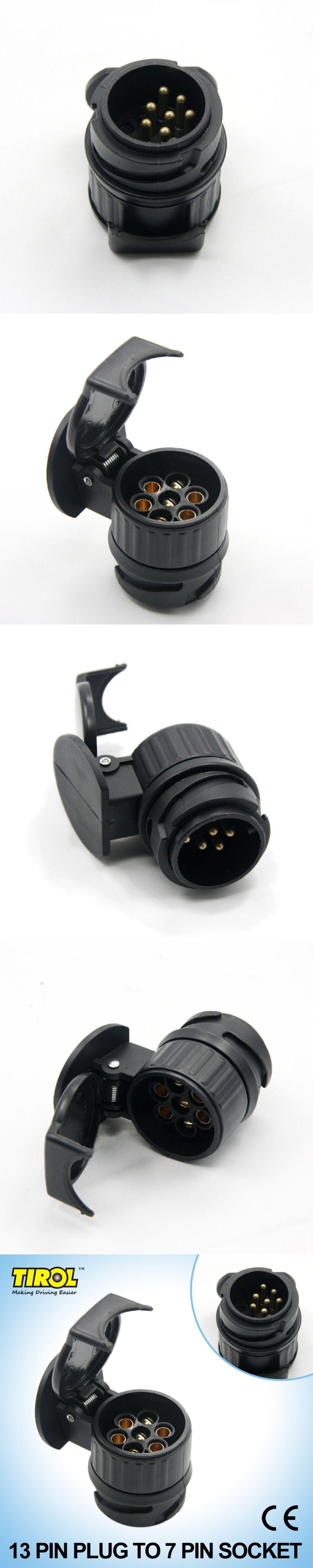 Tirol 13 To 7 Pin Trailer Adapter Black Plastic Wiring Towbar Socket Connector 12v Towing Plug