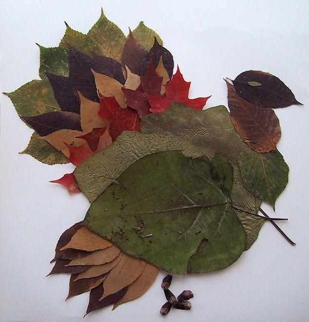Фото поделка из листьев