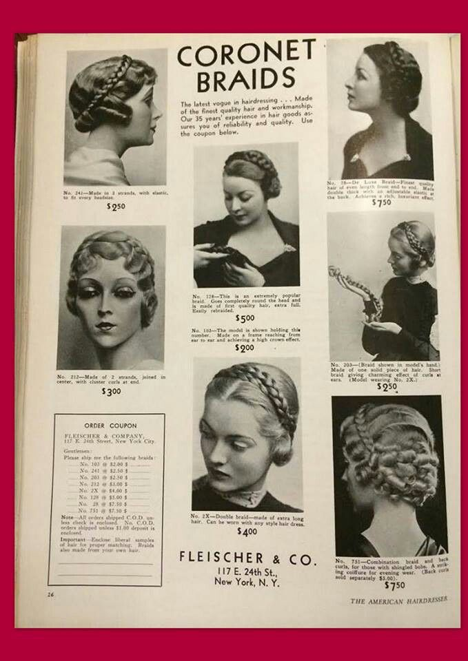Vogue Braided Hair Extentions From Feb1935 American Hairdresser Lovelove Vintage Hairstyles 1930s Hair Hair Styles