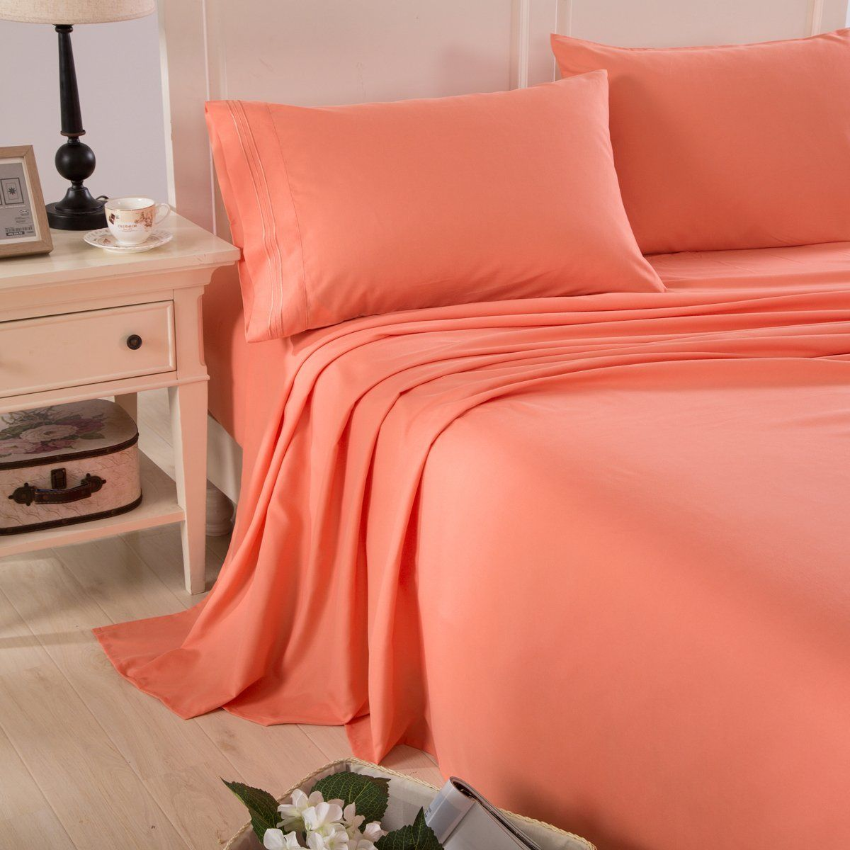 Exceptional Honeymoon Embroidered 1800 Brushed Microfiber Ultra Soft Queen Bed Sheet Set,  Coral