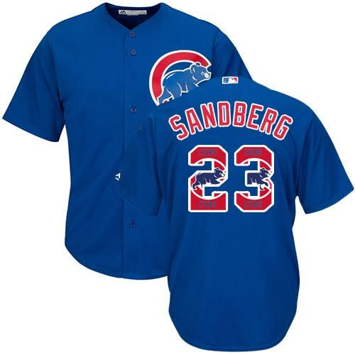 half off 591d7 61739 Cubs #23 Ryne Sandberg Blue Team Logo Fashion Stitched MLB ...