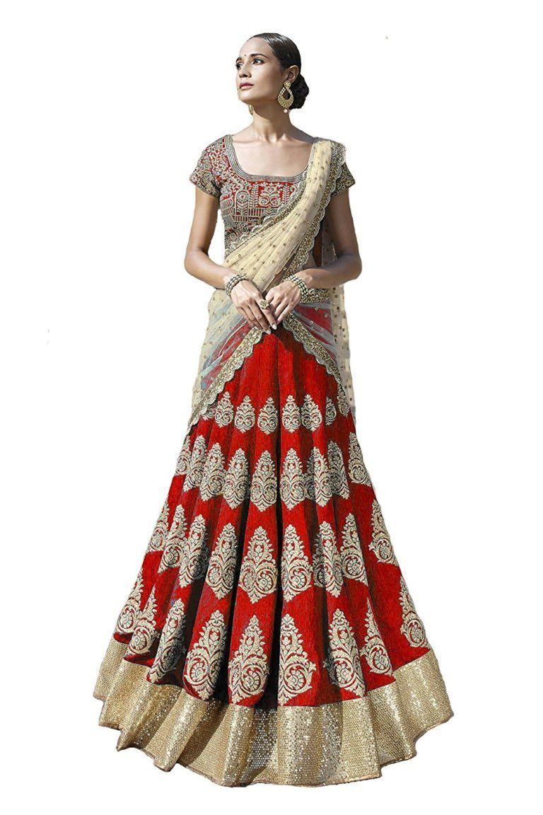 4051fa306 RED BRIDAL LEHENGA UNDER RS 5000   Women All Fashion   Lehenga, Red ...