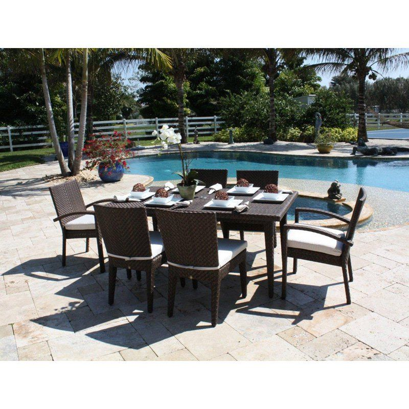 Hospitality Rattan Soho 7 Piece Patio Dining Set   Rehau Fiber Java Brown    Seats 6