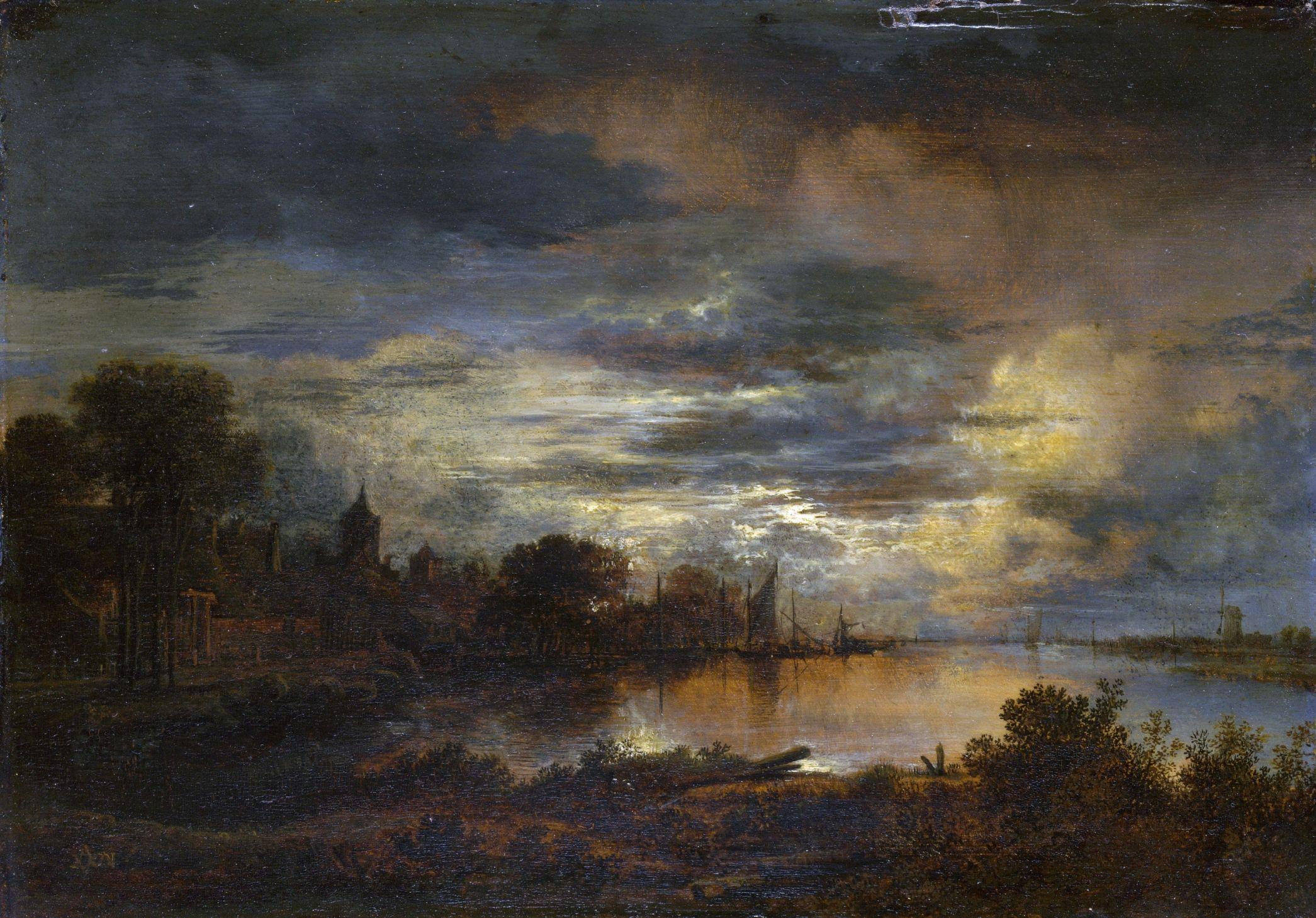 Aert van der Neer - Riviergezicht met dorp bij avond (1645)