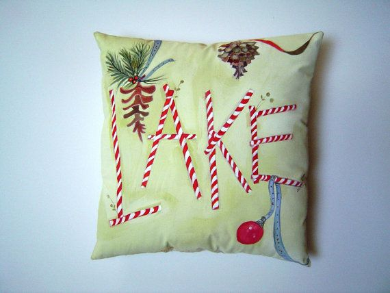 Candy Cane LAKE Holiday Hand Painted 12x12 Pillow - Lake House Cottage Candy Cane Pine Cone Holiday Home Accent ART