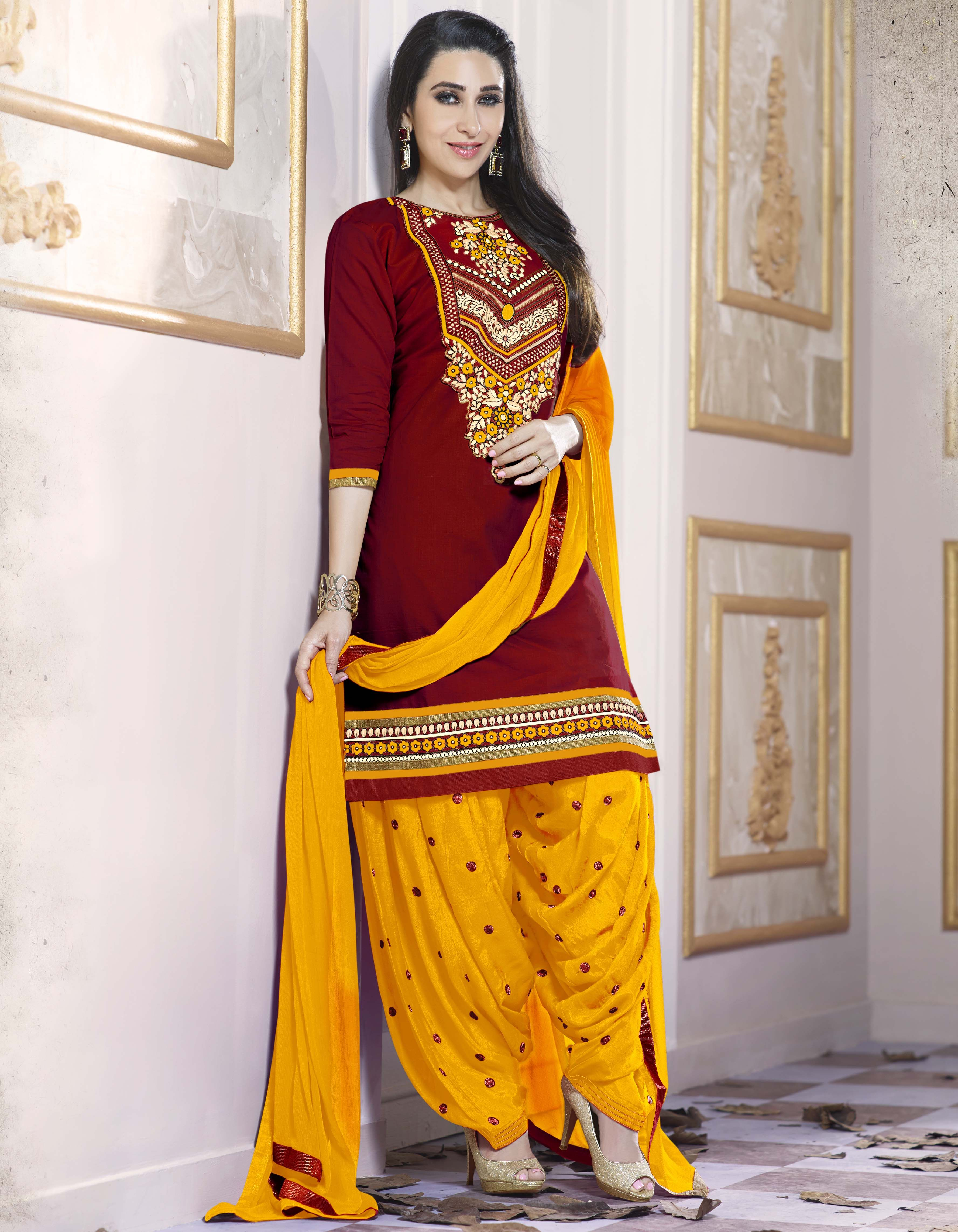 f217f8469c Red And Yellow Embroidered Cotton Patiala Suit | Salwar Kameez ...