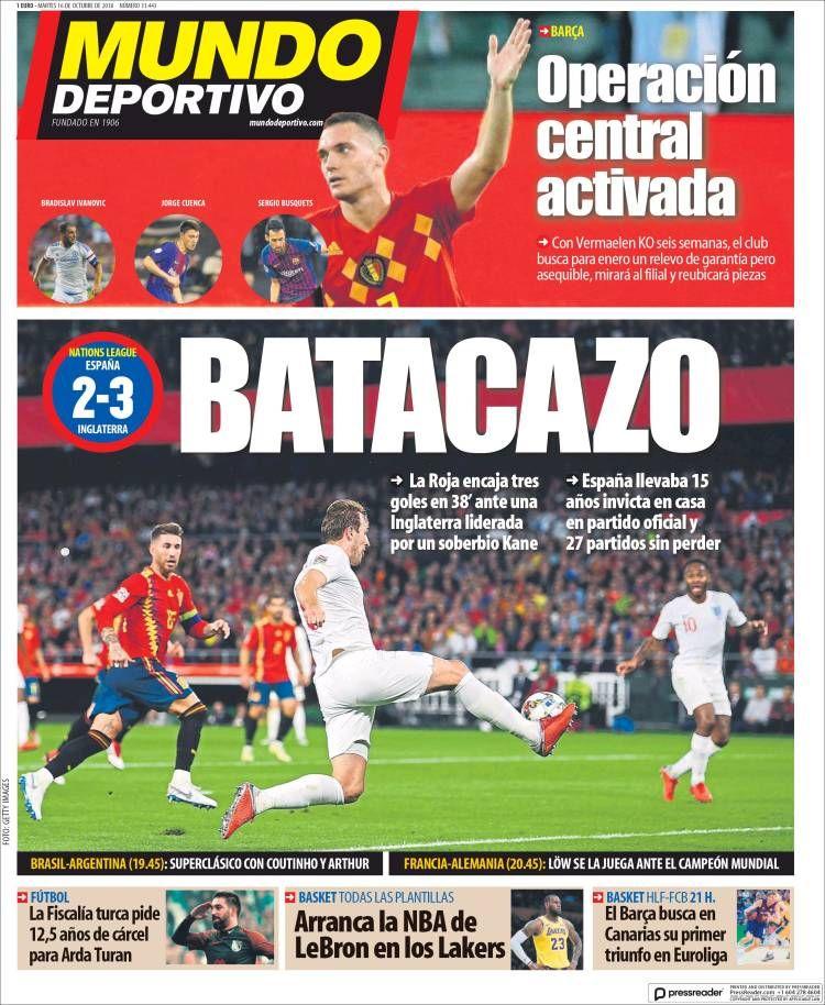 20181016 Portada de El Mundo Deportivo (España) Mundo