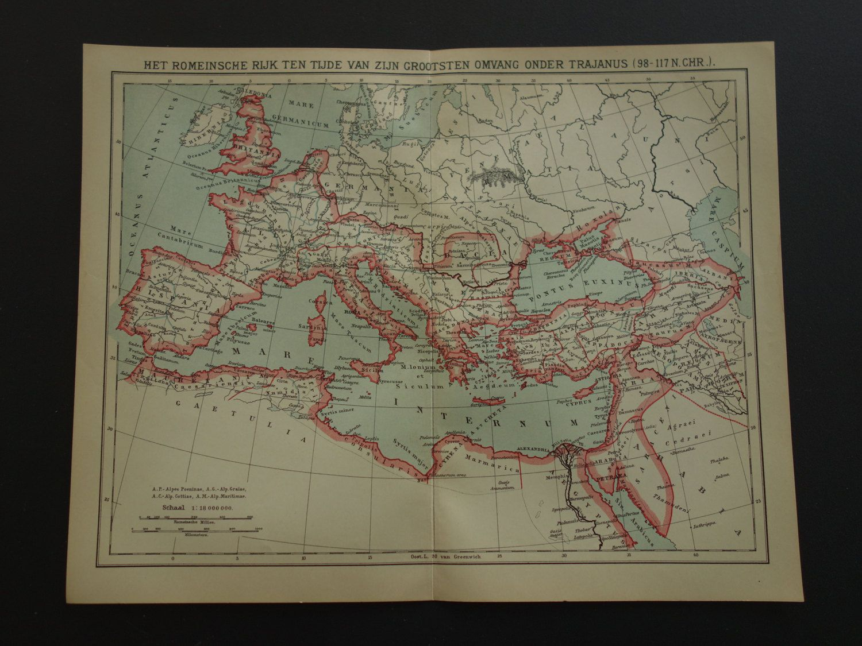 Antique Map Of Roman Empire Under Emperor Trajan Lovely - Map of rome under trajan