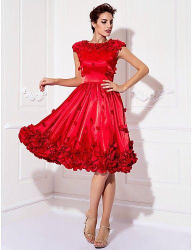 976470666 Vestido Coctail rojo de Satén hasta la rodilla   Vestidos de Fiesta Baratos